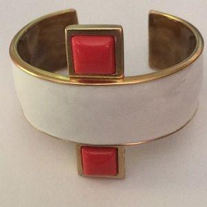 kenneth jay lane white enamel cuff bracelet